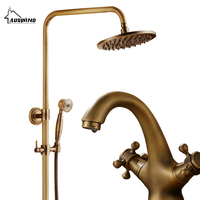 Antique Sprinkler Shower Set 8 Inch Rainfall Shower Head Single Handle Shower Arm with Solid Brass Faucet for Free