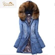 Women Winter Coats and Jackets 2016 Fox Fur Hooded Thick Slim Denim Femme Cotton Padded Casaco Medium Long Jeans Parkas WC9129