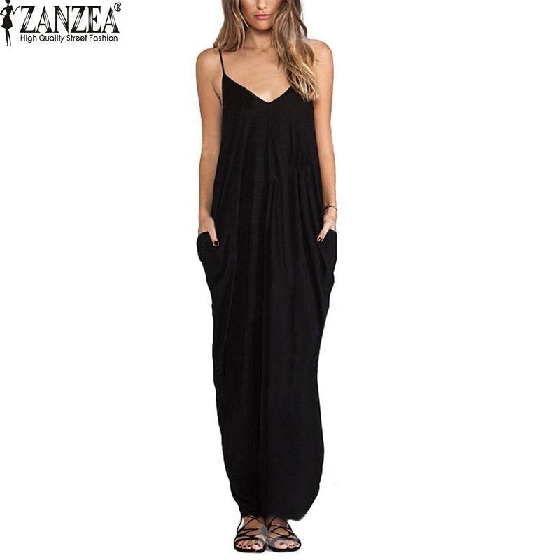 3 Colors Sundress Beach Vestidos 2018 Summer Women Dress Boho Strapless Sexy V-neck Sleeveless Baggy Long Maxi Dresses Plus Size 1