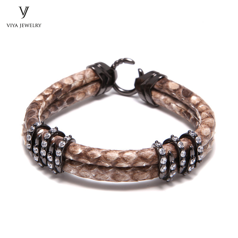 Customize Luxury Natural Python Bracelet With 925 Sterling Silver Charm Clasp Genuine Python & Stingray Leather Cords Bracelets stainless steel commercial automatic donut making machine for sale mini automatic donut machine for sale donut dropper