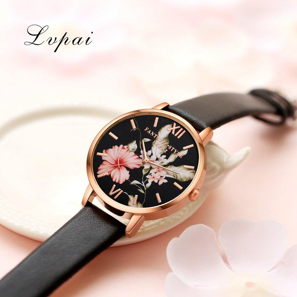 Bracelet Watch Rose Gold Flowers Leather Simple Women Watch 4