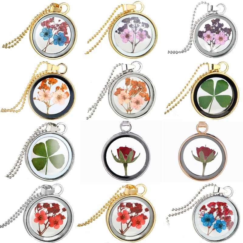 Dried Rose Glass Floating Lockets Pendant Necklaces for Women Dried Flower Pendants Necklace Chain Choker Jewelry Gifts Souvenir