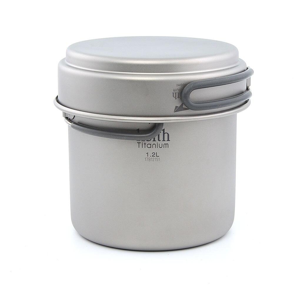 Keith Ti6013 Titanium Pot Camping Cookware Titanium Cookware 400ml+1200ml 193g keith kp6013 titanium pot w plate set silver 1 2l
