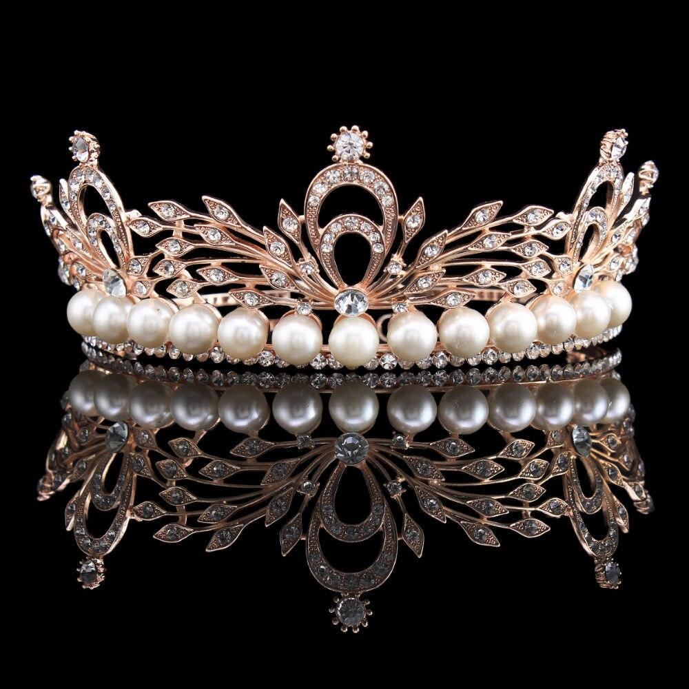 Wedding Bridal Simulated-Pearl Leaf Rose Gold Color Tiara Crown Hair  Accessories Hairband Headband HG00261 325cefb92e84