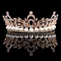 Wedding Bridal Simulated-Pearl Leaf  Rose Gold Plated Tiara Crown Hair Accessories Hairband Headband HG00261