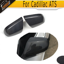 carbon fiber Full Replacement side rear back view mirror covers Caps for Cadillac ATS Base Sedan 4 Door 2014 2015 2016