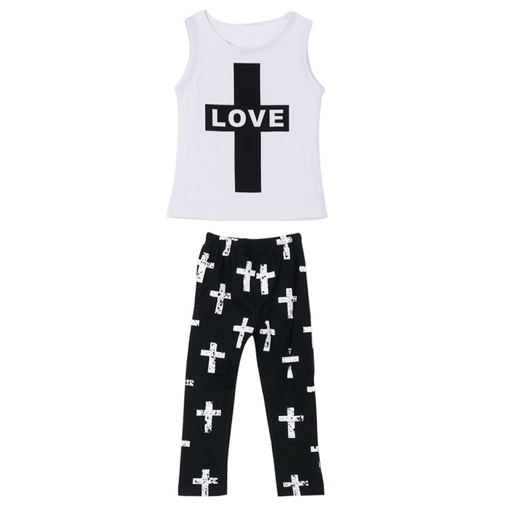 Toddler Girls Cross Print Vest Tops Pants Leggings Outfit Set Girls Casual Cloth Summer Cloth Cotton ...