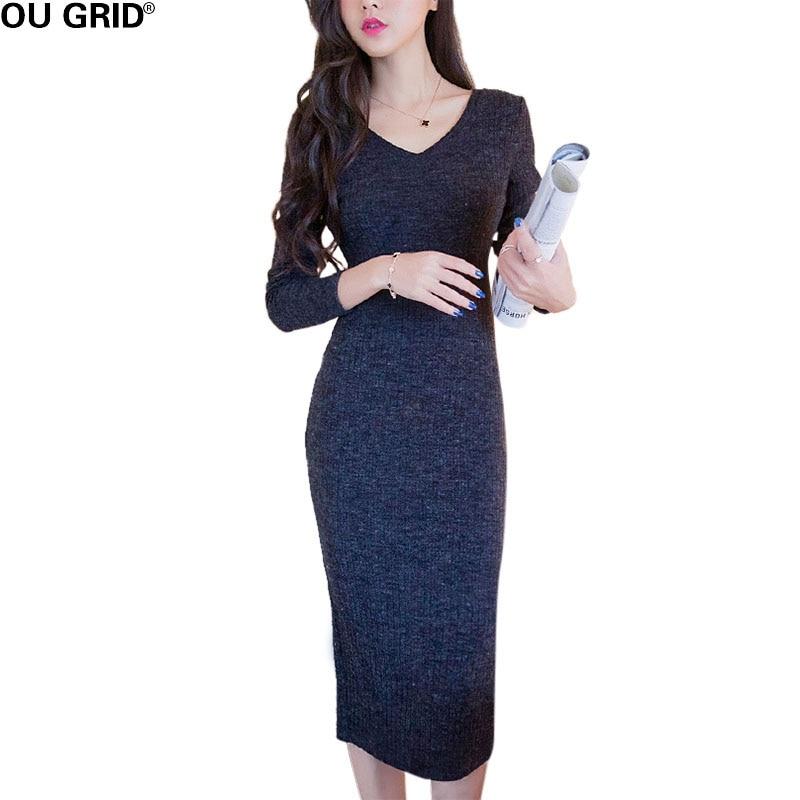 Party Long Sweater Dress Women Elegant Slim V neck Split Knitted Dresses Solid Bottom Backless Bodycon