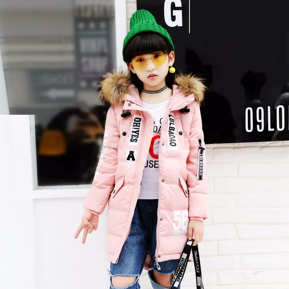 Autumn Winter Girl's Down Jacket Medium-long Fashion Girl's Down Coat with Fur Collar BLACK GREEN RED PINK 120cm-160cm fashion red longline coat with belt