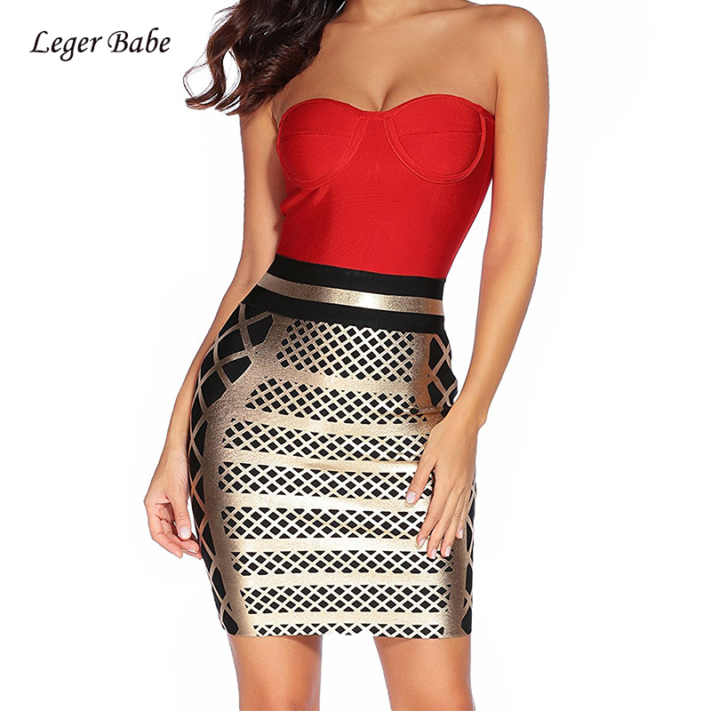 Leger Babe 2018 New Sexy Women Bodycon Bandage Dress Gold and Red Summer Patchwork Strapless Glitter Celebrity Prom Party Dress