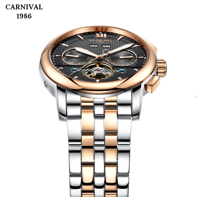 Business Rose Gold Watch Men Waterproof Tourbillon Mechanical  Mens Sport Clock Stainless Steel Automatic Self-Wind Watches NEWBusiness Rose Gold Watch Men Waterproof Tourbillon Mechanical  Mens Sport Clock Stainless Steel Automatic Self-Wind Watches NEW
