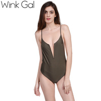 Wink Gal Sexy Rompers Bodysuit Solid Sleeveless Overalls Bodysuits For Women Beachwear Hot Bodycon Playsuit 3502