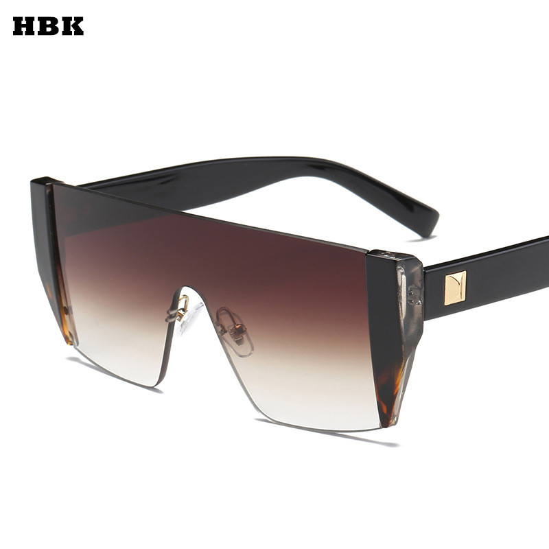 HBK Square Luxury Sun Glasses Brand Designer Ladies Oversized Shades Sunglasses Women Gold Frame Mirror Sun Glasses For Female