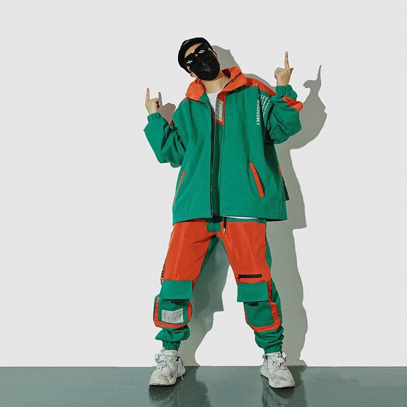 2 Pantalon Fret Vestes black Avec Pièces Hommes Ensemble Jacket green Orange Élastique Trop Set black De Militaire Mode Pants Hop Hanche Et Ensembles Black Veste green Pants Taille Poche Lâche Jacket Patchwork Set Manteau Green green rwr0PU8q
