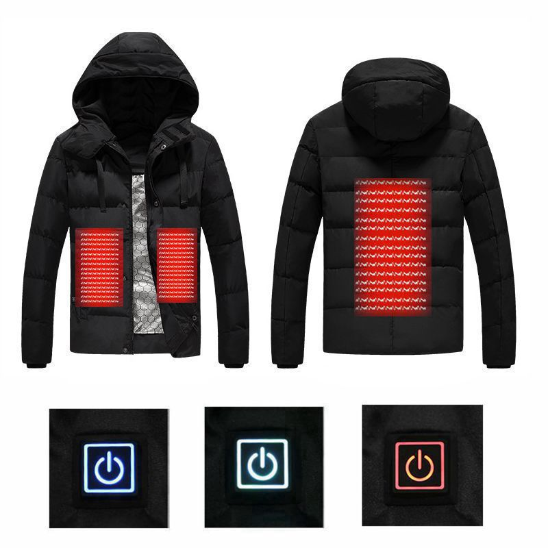 2018 Men Winter Outdoor USB Infrared Heating Hooded Jacket Electric Thermal Clothing Coat For Sports Climbing Hiking