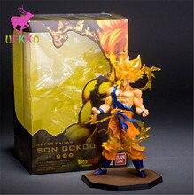 UEKKO 1pcs  Anime Dragon Ball Z Super Saiyan  goku fighting 17CM PVC Action Figure Doll Model Funko Pop Collection Kid Toy Gift