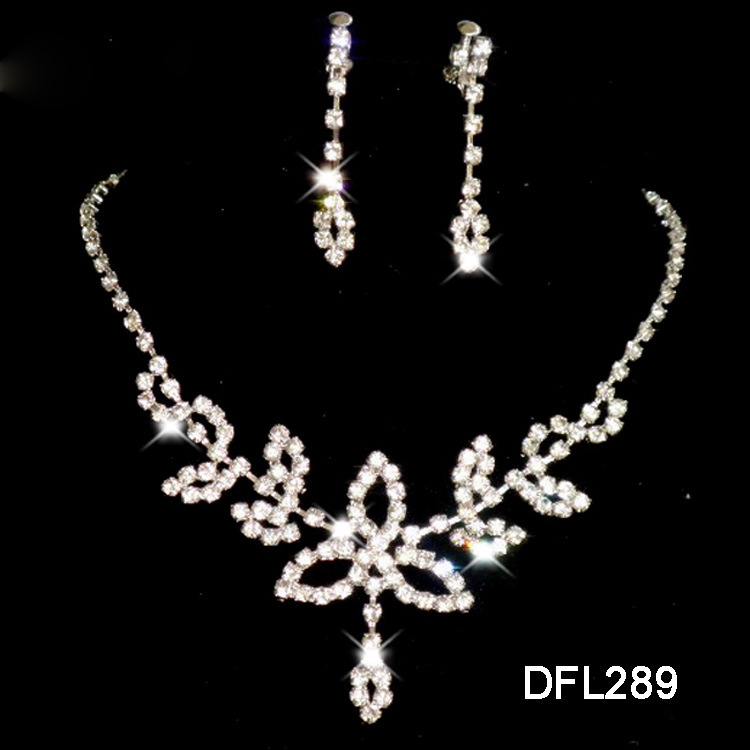 A075 New Neckaces earrings Jewelry sets Rhinestone Crystal Wedding Bride Party For Women Wholesale Gifts B12# ABC