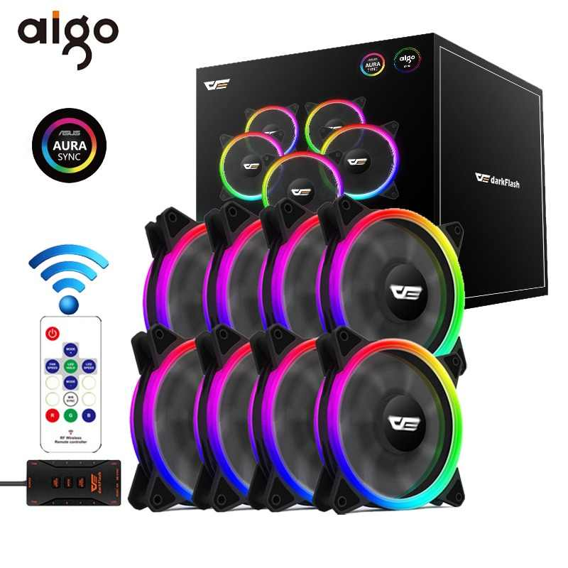 Aigo DR12 Pro Computer PC Case Fan RGB Adjust LED Fan Speed 120mm Quiet Remote AURA SYNC Computer Cooler Cooling RGB Case Fans