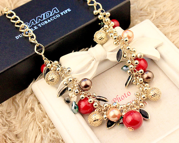 European American Fashion New Color Rhinestones Imitation Pearl Crystal Chokers Necklace Exaggerated Female Jewelry Accessories