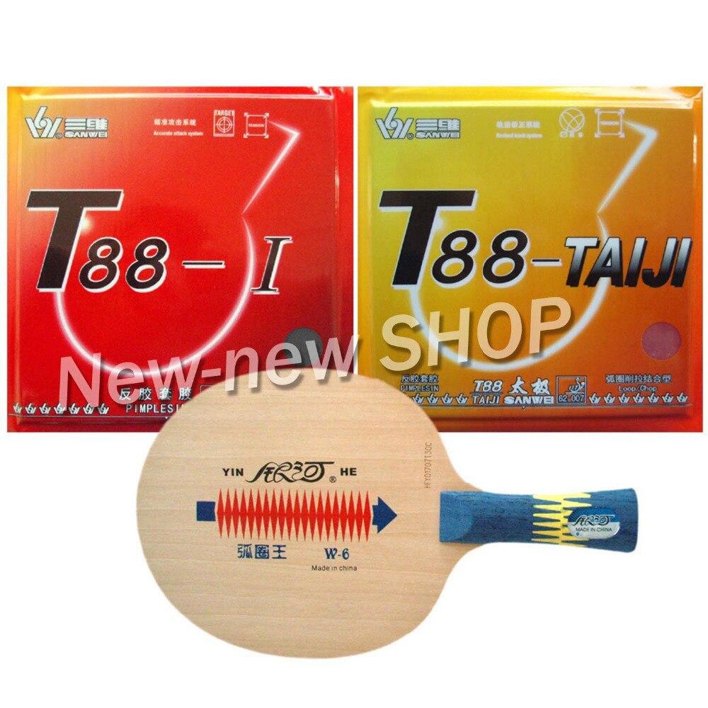 Pro Table Tennis Ping Pong Combo Paddle Racket Yinhe W-6 + Sanwei T88-TAIJI and T88-I Shakehand long handle FL dhs 6002 long shakehand fl table tennis ping pong racket a paddle bag