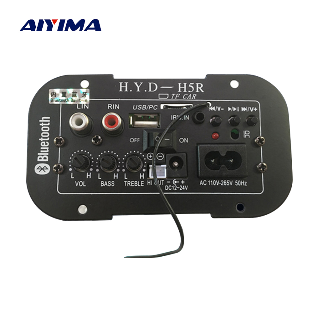 Aiyima Subwoofer Amplifier Board Car Bluetooth Audio Amplifiers 12V 24V 220V For 5-8inch Speakers DIY aiyima tpa3116 4 1 bluetooth amplifiers audio board digital class d amplifier 4 50w 100w amplificador audio 24v car subwoofer