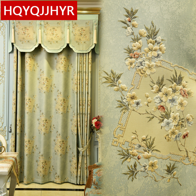 European Top Light Blue High Quality Jacquard Villa Curtains For Living Room Cream Color Luxury 3D Jacquard Curtain For Bedroom