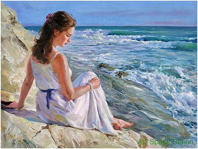 abstraite femme peinture moderne wall art vladimir volegov la rocky mer peinture l 39 huile. Black Bedroom Furniture Sets. Home Design Ideas