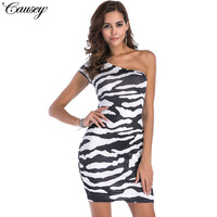 2018 Time Limited Polyester Sexy Club A Line Print Short Robe Mini Dress Sexy Zebra Bigger