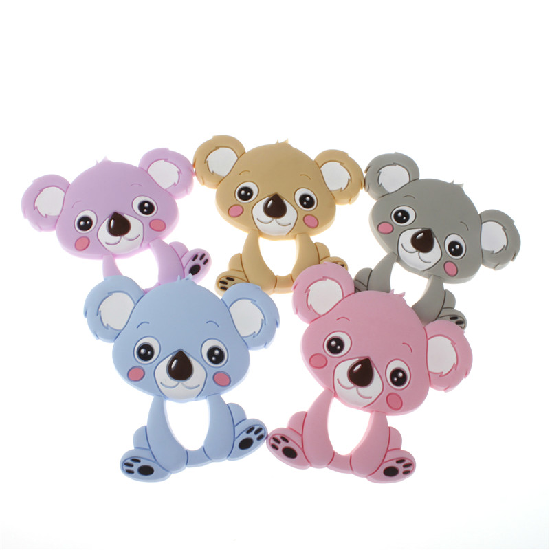 5PCS koala Bear Baby Teethers Silicone Teething Toys Silicone Chew Charms Baby Bpa Free Silicone Teethers Diy Necklace Pendant silicone bear