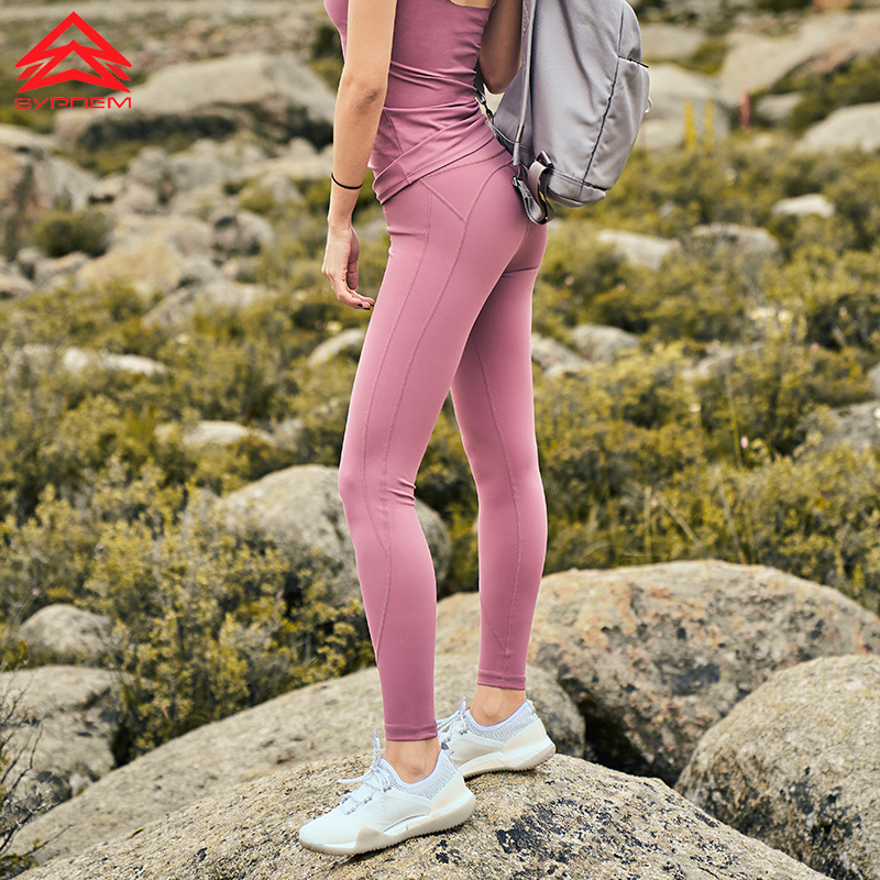 SYPREM Yoga Pants women high waist drawstring yoga pink leggings high elastic dri fit new sexy girl yoga pants leggings CK181045 in Yoga Pants from Sports Entertainment