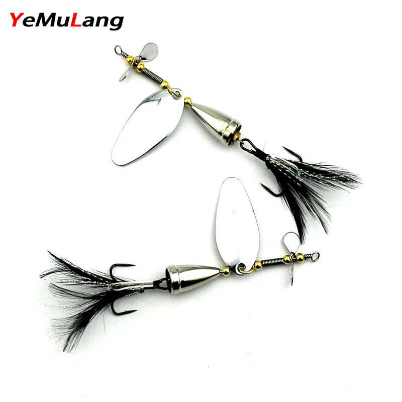 BB749 1PCS  Spinner Bait Metal Artificial Fishing Lure Double Tail Propeller Hard Baits With 6# Feather Hook Trout Carp
