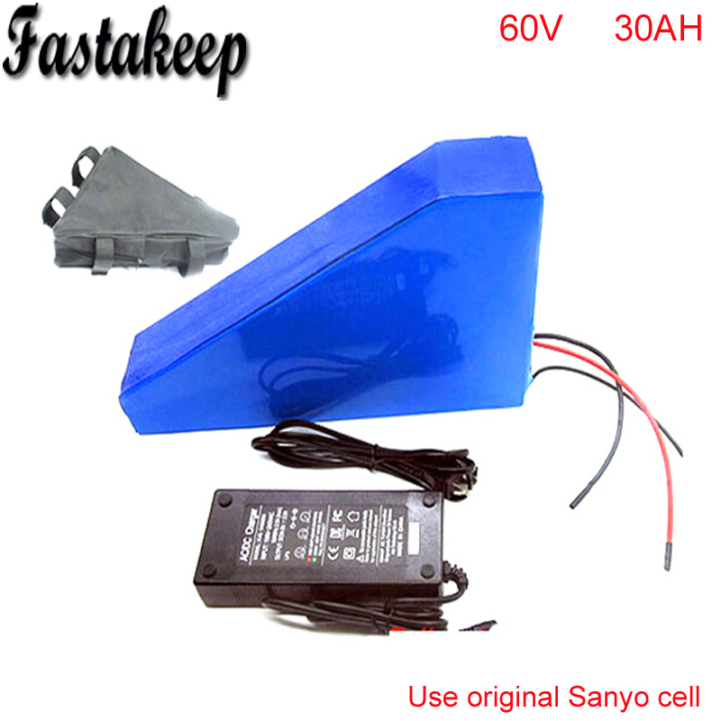 60v 3000W lithium ion battery with triangle bag for electric bike battery 60v 30ah ebike li-ion battery pack For Sanyo cell factory direct price 60v 60ah diy rechargeable lithium ion battery powered 3000w electric chopper bike