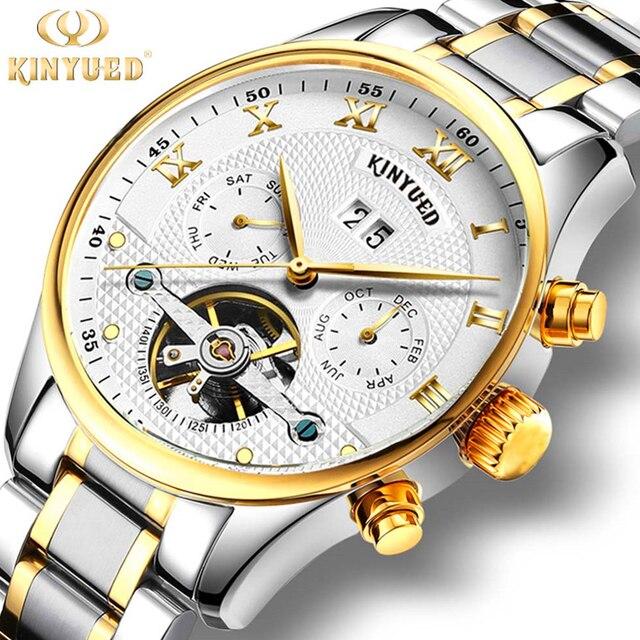01764779784 KINYUED Mens Relógios de Luxo Da Marca Mecânico Automático Relógio de Pulso  Tourbillon Relógios de Ouro