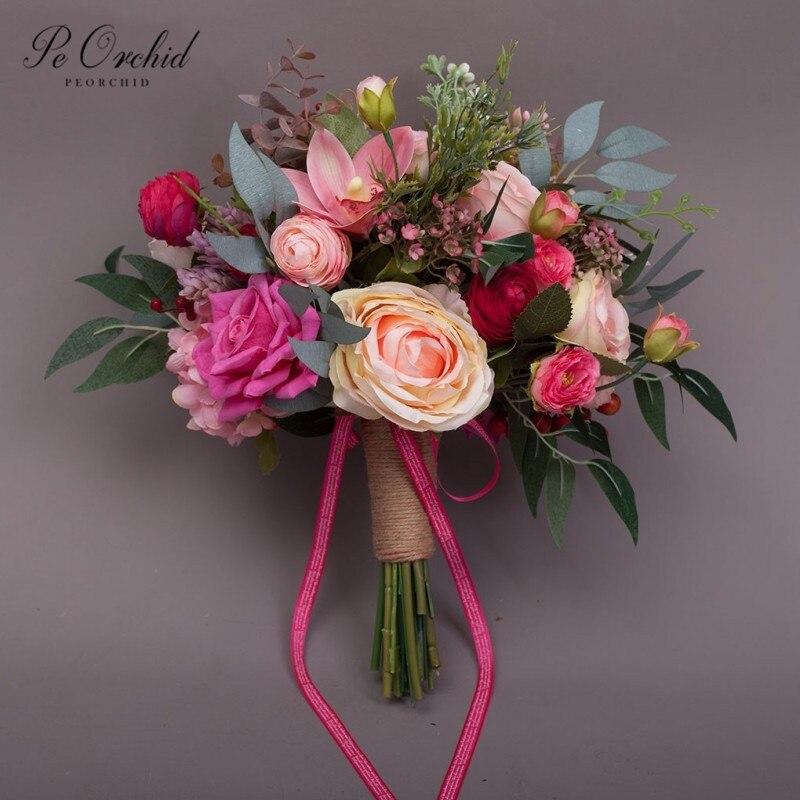PEORCHID, новинка 2019, Красивый букет невесты с розой, ручная работа, деревенский шик, Свадебный Цветочный декор, Искусственный Свадебный букет