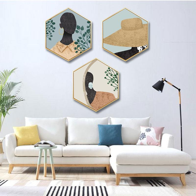 Nordic Ins Decorative Painting Abstract Figure Painting Restaurant Bedroom With Frame Triptych Hotel Wall Hanging Painting