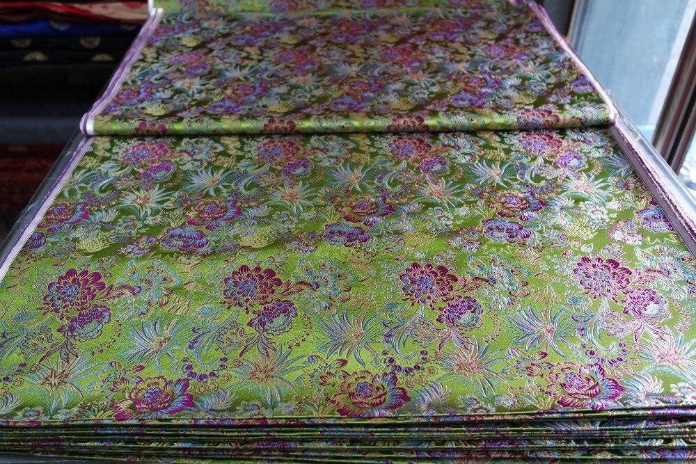 kínai selyem brokát szövet cheongsam párna világos alma zöld - Művészet, kézművesség és varrás