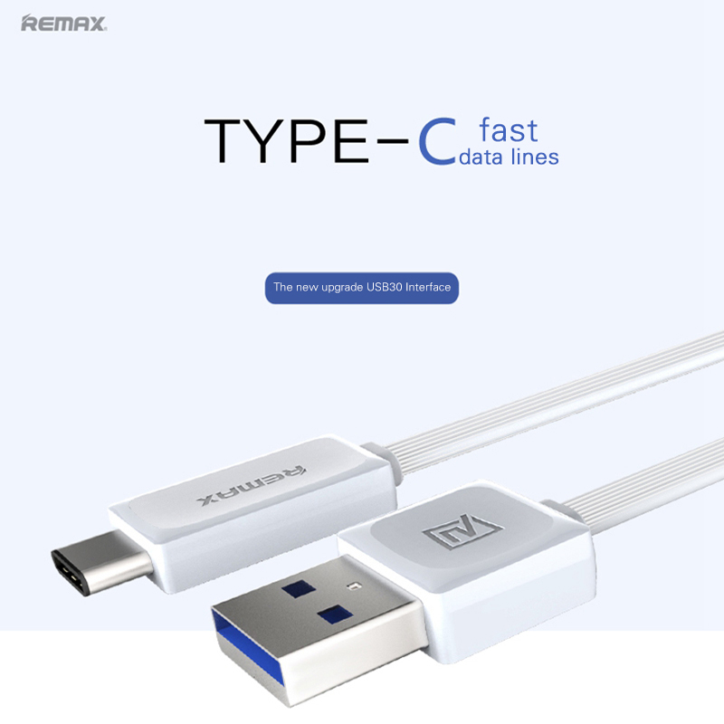 REMAX 1m USB 3.0 To Type C Cable for MacBook xiaomi Oneplus type-c wire USB Fast Charge Data Sync 2.1A Flat Charging Cable