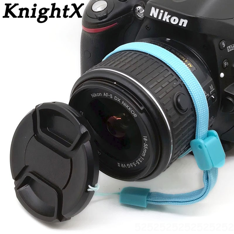 KnightX 49 55 58 62 <font><b>67</b></font> 72 77 52mm <font><b>Lens</b></font> <font><b>Cap</b></font> center pinch snap on Front Cover string for Canon Nikon Sony accesorios camara image