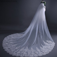 New White Cathedral Wedding Veils Long Lace Edge Bridal Veil with Comb Wedding Accessories Bride Mantilla Wedding Veil