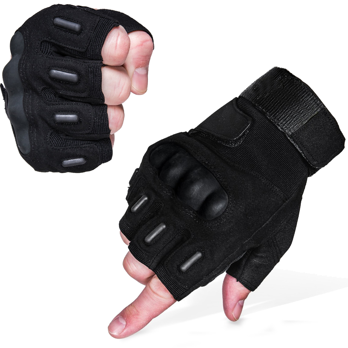 Fingerless impact gloves - Tactical Carbon Hard Knuckle Fingerless Gloves Army Paintball Airsoft Military Combat Anti Skid Half Finger