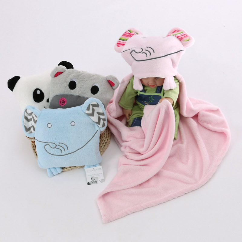 6 Style Baby blankets cartoon fox lion Elephant fleece infant swaddle envelope stroller wrap for newborns baby bedding blanket