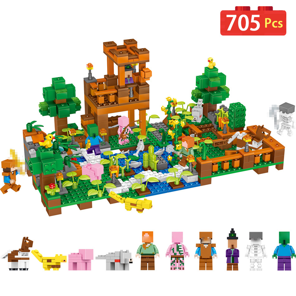 705pcs My World Ranch Building Blocks Compatible Legoingly Minecrafted Village Steve Figures Bricks set Toys for children Gift 4 in 1 my world legoelied steve alex zombie king of bam rock knight minecrafted minifigure building blocks bricks boy toy gift