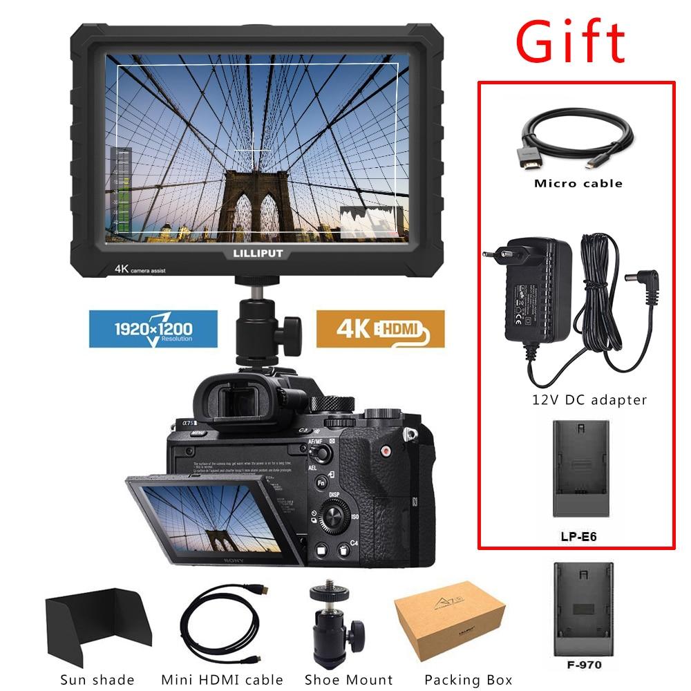Lilliput A7S Black 7 Inch Utra Slim IPS Full HD 1920x1200 4K HDMI On-camera Video Field Monitor For Canon Nikon Sony DSLR Camera
