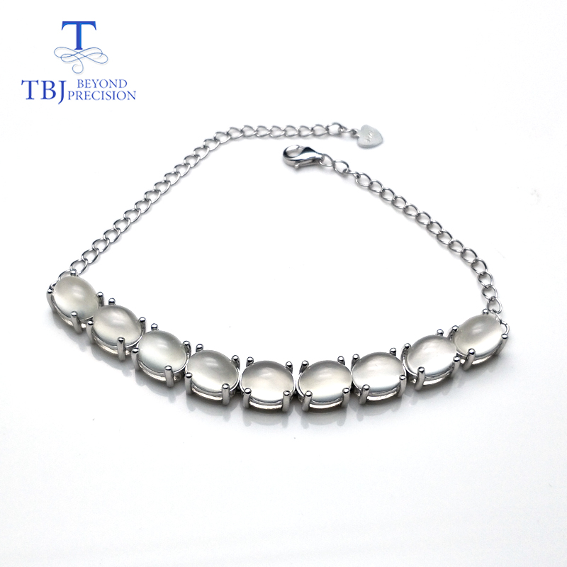 TBJ Natural India white moonstone oval 6 8mm 925 Sterling silver simply style bracelet fine jewelry