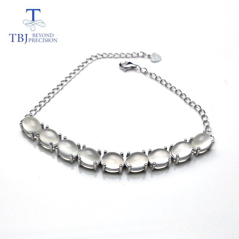 TBJ, naturalne indie biały kamień księżycowy owalne 6*8mm 925 Sterling silver po prostu styl bransoletka fine jewelry najlepszy valentine dla kobieta w Bransoletki i obręcze od Biżuteria i akcesoria na  Grupa 1
