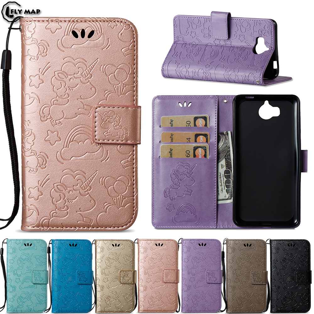 reputable site cb3da 5b7f5 US $4.46 5% OFF|Unicorn Flip Cover For Huawei Y6 2017 Y6III Nova Young Case  Wallet Phone Shell Coque Y5 2017 MYA L11 MYA L41 MYA L11 L41 6 Y Bag-in ...