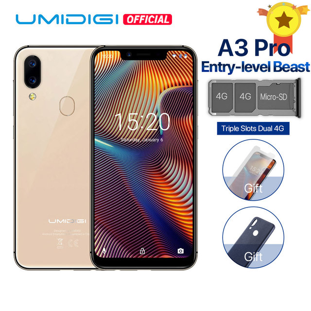 "UMIDIGI A3 Pro Global Band 5.7""19:9 FullScreen smartphone 3GB+16/32GB Quad core Android 8.1 12MP+5MP Face Unlock Dual 4G 3 Slots"
