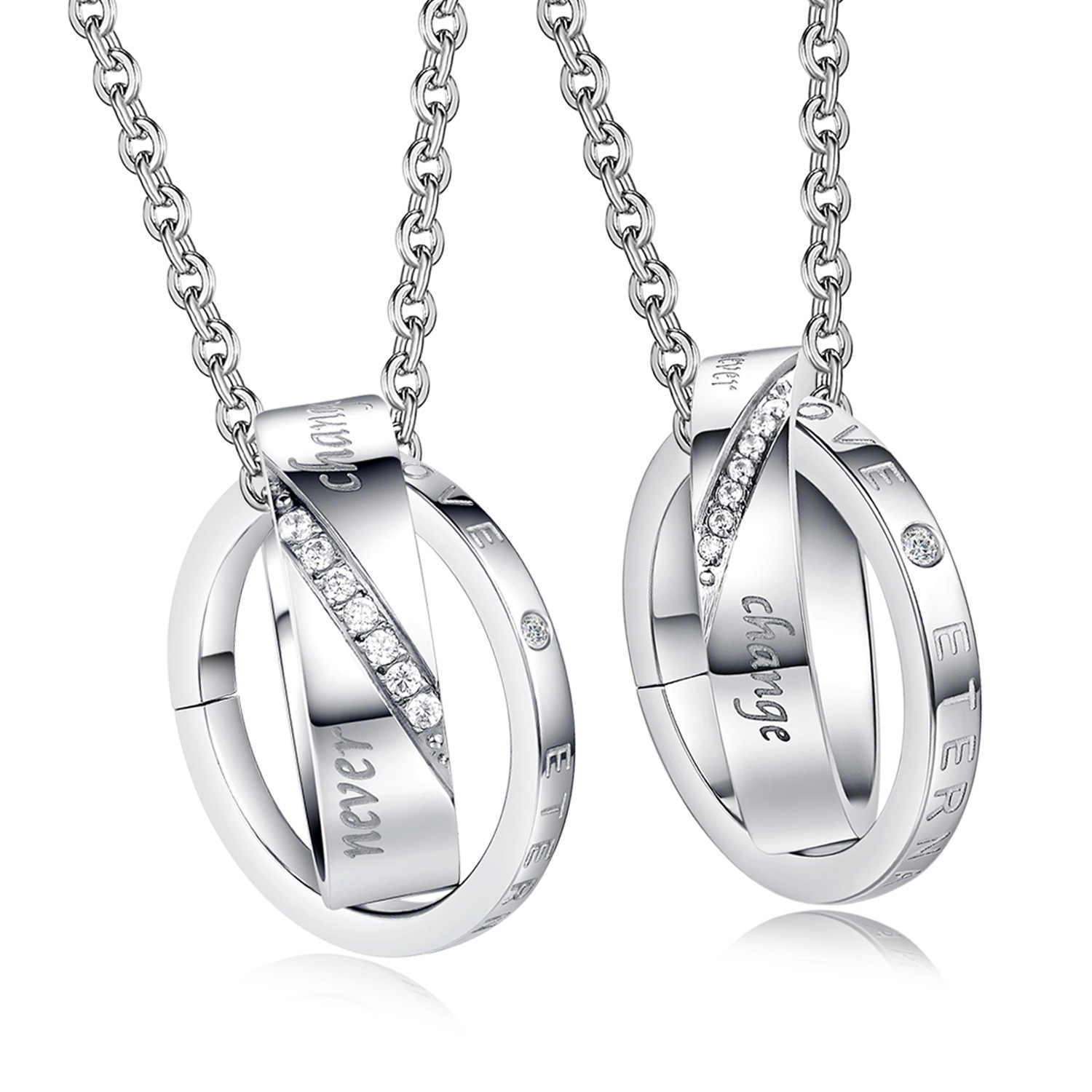 Couple Necklace Stainless Steel Crystal Double Circle Pendant Necklaces For Lovers Women Men