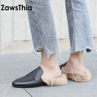 ZawsThia 2019 winter cow genuine real leather woman slippers with real rabbit fur warm female slide women furry mules size 34 40