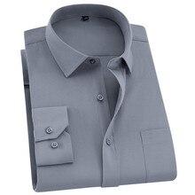 QISHA メンズシャツ長袖ビジネススマートカジュアル無地ツイル男性服スリムプロフェッショナル新グレー社会男シャツ
